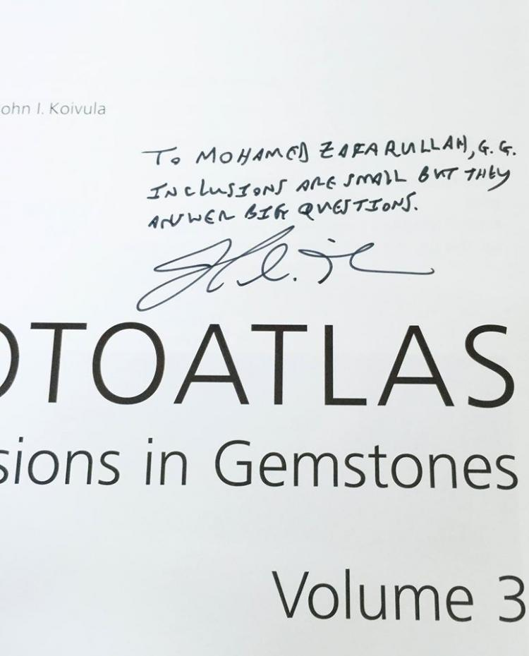 From The Father of Inclusions - John I. Koivula, presenting us with this amazing PhotoAtlas book, in 2010.   Brief introduction about John I. Koivula